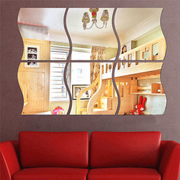 Wholesale Diy Acrylic Sets - 3pcs set Three-dimensional mirror-like Wall Decoration Acrylic Mirrored Decorative Sticker Room Decoration DIY Wall Art Home Decor