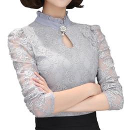 Blusa de renda preta elegante on-line-Mulheres Tops de Renda Chemise Femininas Blusas Camisas das Mulheres Plus Size Camisa Cinza Branco Preto Crochet Elegante Blusa