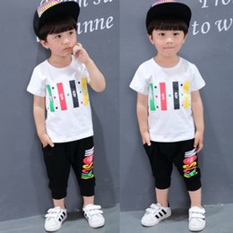 Wholesale Short Sleeve Shirts Children Girl - 2017 Summer Children Clothing Boys Kids Clothes Girls America T-shirt Two Colors Casual Short Sleeves 1212