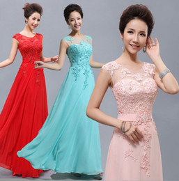 Wholesale Cheap Long Prom Dresses Wholesale - Cheap Floor-Length Long Lace Red Light Pink Ice Blue Yellow Blush Bridesmaid Dress 2017 hot Prom Party Dress Under 80
