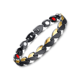Wholesale 316l stainless steel magnetic clasp - New Fashion Gold Black 316L Stainless Steel Magnetic Therapy Health Care Bangle Women Men Germanium Hologram Bracelet Anniversary Gift B872S