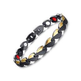 Wholesale 316l Stainless Steel Magnetic Clasp - New Fashion Gold Black 316L Stainless Steel Magnetic Therapy Health Care Bangle Women Men Germanium Hologram Bracelet Anniversary Gift B872S