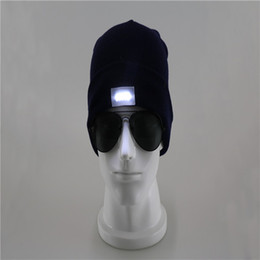 Wholesale Christmas Lights Hat - DHL! LED Lighting Knitted Hats Women Men Camping Cap Travel Hiking Climbing Night Hats Winter Beanie Light Up Caps 77