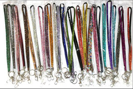 Wholesale Crystals Claw Wholesale - Wholesale - 300pcs Bling Lanyard Crystal Rhinestone in neck with claw clasp ID Badge Holder for Mobile phone