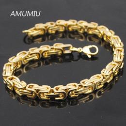 Wholesale Byzantine Steel Chain - AMUMIU Promotion! Men's Bracelets Gold Chain Link Bracelet Stainless Steel 5.5mm Width Byzantine Wholesale High Quality KB002