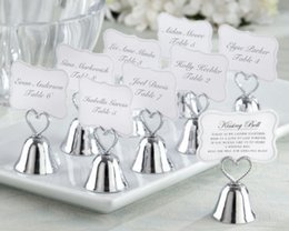 Wholesale Kissing Photo - Wedding Bell Favors Kissing Bell Wedding Bell Favors Silver Place Card Holders Photo Holders Wedding Favors