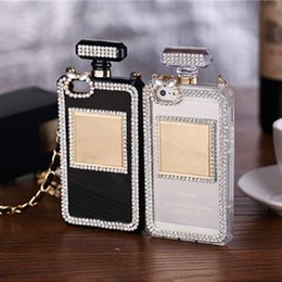 Wholesale Iphone Case Cover Perfume - Bling Crystal Diamond Phone Case Perfume bottle Rhinestone Cover Cases For iphone7 6 6s plus 5S SE TPU Protective shell