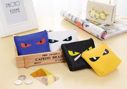 Wholesale Cute Easter Cards - New Fashion Korean version of the cartoon Casual meow whiskey Nylon wallet cute little monster coin bag key bag hand bags factory price