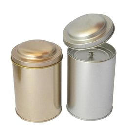 Wholesale Wholesale Tea Coffee Tins - 83x125 mm Round Tea Tin Box Coffee Candy Container With Inner Lid Metal Storage Box Sealed Cans Free Shipping ZA4241
