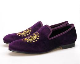 Mocassins mauves en Ligne-Piergitar 2017 nouvelle arrivée hommes couleur pourpre chaussures de velours avec broderie délicate Party et Prom hommes robe chaussures hommes mocassins taille US 5-14