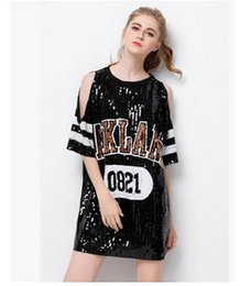 Wholesale women sequin top dance - Fashion Code Shoulder Bling Sequined T-shirt Dress Women 0821 Letter Printed Hip Hop Street T Shirt Tee Tops For Stage Dance Club Party