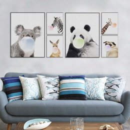 Wholesale Giraffe Sheets - Nordic Kawaii Animal Bubbles Panda Giraffe Dog Canvas A4 Art Print Poster Nursery Wall Picture Kids Room Decor Painting No Frame