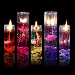 Wholesale Oil Gels - High Quality Aromatherapy Smokeless candles Ocean shells jelly essential oil Wedding candles romantic scented candles Color Random