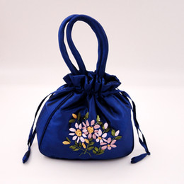 Wholesale Coin Purses Handle - Hand Ribbon embroidery Large Gift Bag Handle Satin Cloth Packaging Handbag Coin Purse Candy Tea Lavender Storage Pouch Tote Pocket Wallet