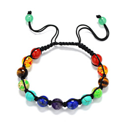 Wholesale Rainbow Bracelets Wholesale - 13 seven color rainbow healing reiki stone 8mm 7 Chakra Bracelet prayer balance Beads Bracelet SL004A4602