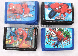 Wholesale halloween spiderman - Wholesale - 12 pcs   Lot Mix Models Spiderman Cartoon Wallets Children Purses Kids lovely Gift bags Hot sale Free Shipping