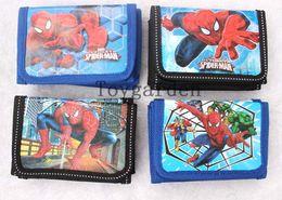 Wholesale Spiderman Wallets - Wholesale - 12 pcs   Lot Mix Models Spiderman Cartoon Wallets Children Purses Kids lovely Gift bags Hot sale Free Shipping