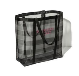 Wholesale Vegetable Mesh - Half Transparent Women Handbags Large Capacity Travel Duffle Striped Waterproof Beach Bag Shoulder Bag Mesh Bag Toys Cosmetics Organizer