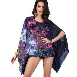 8357cfb75a Boho Batwing Sleeve Chiffon Blouse Women Casual Floral Print Loose Kimono  Shirts Big Size Beach Tunic Tops Peplum Blusas Robe