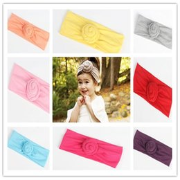 Wholesale Top Baby Accessories - Baby Infant Top Knot Headband Girls Solid Turban Hairband Elastic Newborn Baby Cute Headwrap Kids Hair Accessories