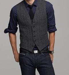 Wholesale Tuxedo Prom Single Button - 2017 Vintage Black Wool Tweed Vests Slim Mens Suit Vest Custom Made Prom Tuxedo Vest Men Wedding Waistcoat Mens Dress Vests Groom Vest