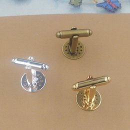 Wholesale Wholesale Cufflink Blank Trays - 12mm Round Cabochon Tray Copper Silver Gold Antique Bronze Plated Cufflink Blanks Base Setting For Jewelry Makings 20 pcs cy1452