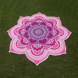 Wholesale flower tablecloths - Wholesale-Large Round Lotus Flower Mandala Tapestry Flower Beach Towel Hippie Gypsy Boho Throw Towel Tablecloth Hanging