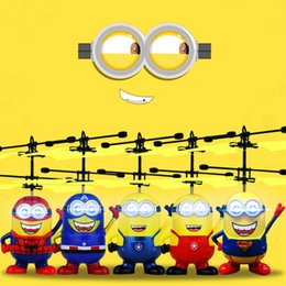 Wholesale Led Remote Helicopter - Chrismas Gifts Movie Character RC Despicable Me Minions Aircraft Induction Helicopter Quadcopter Kids LED Toys Gift Drop Ship
