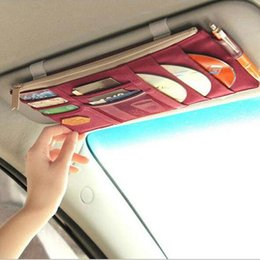 Wholesale Vehicle Fabric - Car Front Windshield shales CD visor Storage Bags Hanging bag for vehicle bill Card package Storage bag