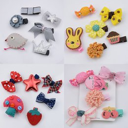 Wholesale Good Quality Hair Accessories - Children hair clip set 6pcs set Kids hair accessories Cute Felt Animals Cartoon Baby Barrettes Girls Hair Pin bows Good quality 4 color
