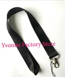 Cordão personalizado on-line-Hot! Lotes de 50 pcs Solid Black em branco chave Lanyard para impressão personalizada ID crachás tamanho 48 * 2.5 cm