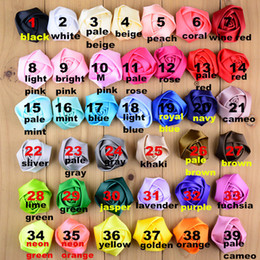 Wholesale Satin Roses Flowers Rosette - 39 colors 5CM mini satin rose girl flower for baby hair accessories hair flower satin rosette for baby headbands satin hair flower XF278