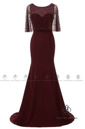 Wholesale Cowl Neck Prom Dress - Mermaid Evening Dresses 2017 with Pearl and Crystal Cowl Burgundy Half Sleeves Prom Dresses Long Little Train Real Photo HarveyBridal