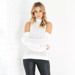 Wholesale Off Shoulder Turtleneck - Wholesale-Women Winter Clothing Femme Pullovers Turtleneck Warm Long Sleeve Off Shoulder Women'S Cashmere O-Neck Sweaters 3color
