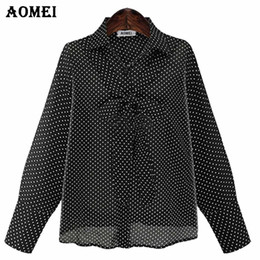 Wholesale Girls Black Top Bow - White and Black Polka Dot Long Sleeve Blouse for Women with Bow Tie Collar Preppy Style Girls Lolita Cute Shirts Tops Blusas 5XL