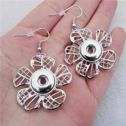 Wholesale Earrings 12mm - New Fashion Noosa Chunks Metal Ginger Flower Earring 12mm Snap Buttons Earrings Women Girls Jewelry Wholesale
