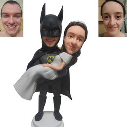 Wholesale Stewardess Top - Batman Groom And Bride In Cake Top Creative Wedding Cake Decorations Wedding Birthday Festival Party Decorations Cake Topper