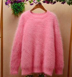 Wholesale Ladies Pink Wool Coats - Ladies women Korean version pink o-neck Angora rabbit hair long sleeves loose pullover cashmere sweater coat TC-008