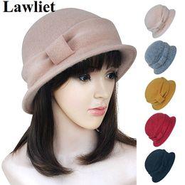 2018 moda chapéu cloche Atacado-A220 Vintage Moda Feminina Ladies Wool Felt  Hat Trendy Warmer c7c6bfa7b6a