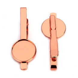 Wholesale Clip Jewelry Parts Wholesale - Tie clip brass jewelry accessories part blank stickpin 16 mm bezel-set Rose gold