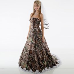 Wholesale Camouflage Dresses Plus Size - 2017 Modest Camo Wedding Dresses Strapless Appliques Backless Camouflage Country Wedding Gowns Brush Train Bridal Dresses