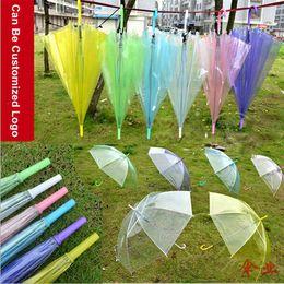 Wholesale Rainbow Dance - Transparent Clear EVC Umbrella Dance Performance Long Handle Rainbow Umbrellas Beach Wedding Colorful Umbrella for Men Women Kids Camping