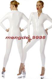 Bodysuit branco do dia das bruxas on-line-New White Brilhante Metálico Bodysuit Catsuit Trajes Sexy Frente Zipper Terno Do Corpo Unisex Trajes Cosplay Outfit Cosplay Halloween Terno M072