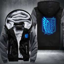 Wholesale Titan Shingeki - Wholesale- New Shingeki No Kyojin Attack on Titan Aren Thicken jacket hoodies coat extra cotton Black BLUE GREY RED USA Size