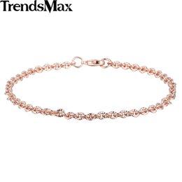 Wholesale Trendy Womens Bracelets - Trendsmax Trendy 3mm CUT Rolo Round Link Womens Chain Ladies Girls Friendship Chain Rose Gold Filled Bracelet GB395