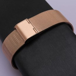 Wholesale 14mm Stainless Steel Bracelet - Stainless Steel Mesh Milanese Watchbands strap Bracelet rosegold metal folding buckle deployment 10mm 12mm 14mm 16mm 18mm 20mm 22mm fit lady