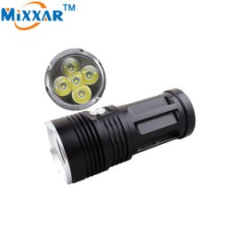 Wholesale 5x Cree Xm L T6 - LED Flashlight LED Torch 5000LM Camping Hunting Torch 5x Cree XM-L T6 Tactical Lantern Suitable 4x18650 Battery