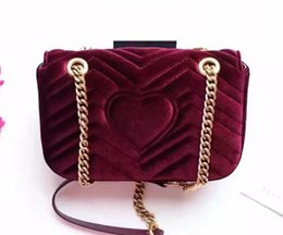 Wholesale Velvet Logo - Top quality Velvet Surface Genuine Leather Women Handbag For Winter New Style Vitage Gold Bronze Chain and Logo Purse G239