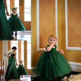Wholesale Cheap Baby Easter Dresses - Toddler Lovely Baby Emerald Green Ball Gown Flower Girl Dresses Tea Length Tiered Kids Communion Birthday Party Gown Cheap