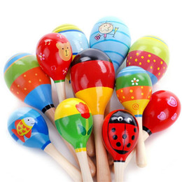Wholesale Matching Separates - Wholesale- All match Wooden Maraca Rattles 1-2 years Educational Kids Musical Party Favor Child Shaker Toy Hot Baby Rattles & Mobiles #10